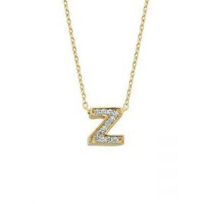 Altın Z Harfli Taşlı Kolye