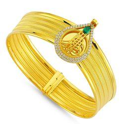 SembolGold - Altın Hasır Kelepçe Dört Sıralı Damla Zümrüt (1)