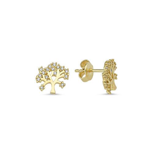 SembolGold - Altın Hayat Ağacı Küpe İğne Tasarım KPY-208