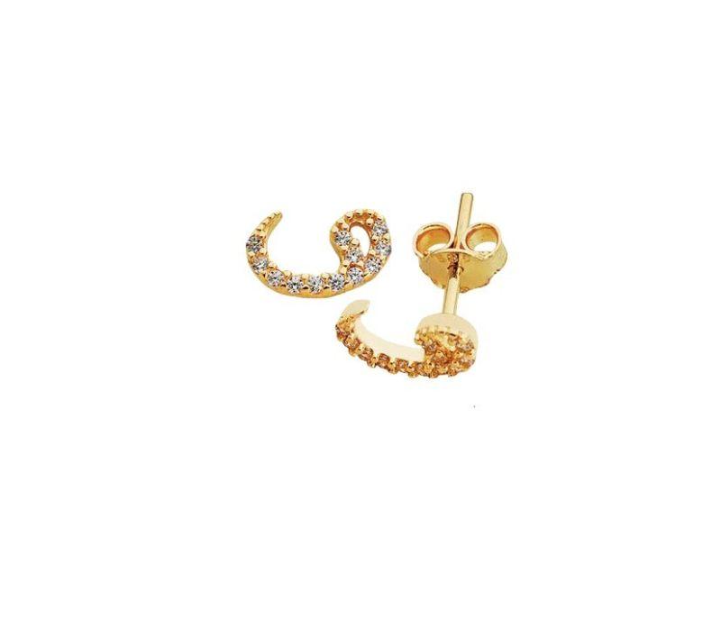 14 Ayar Altın İğne Küpe Vav Modeli