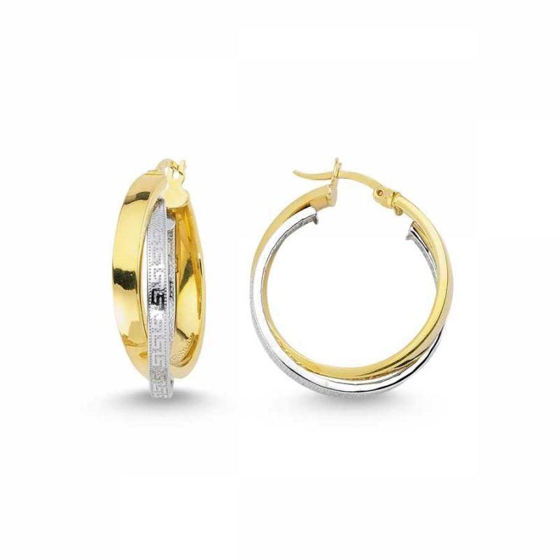 Altın İtaly Halka Küpe 2 Sıralı K5455677
