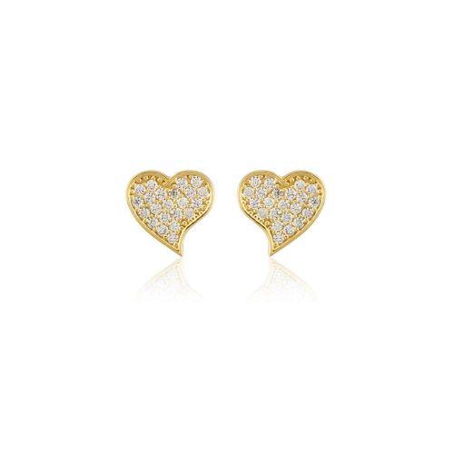 SembolGold - Altın Kalp Küpe Çivili 14K Gold