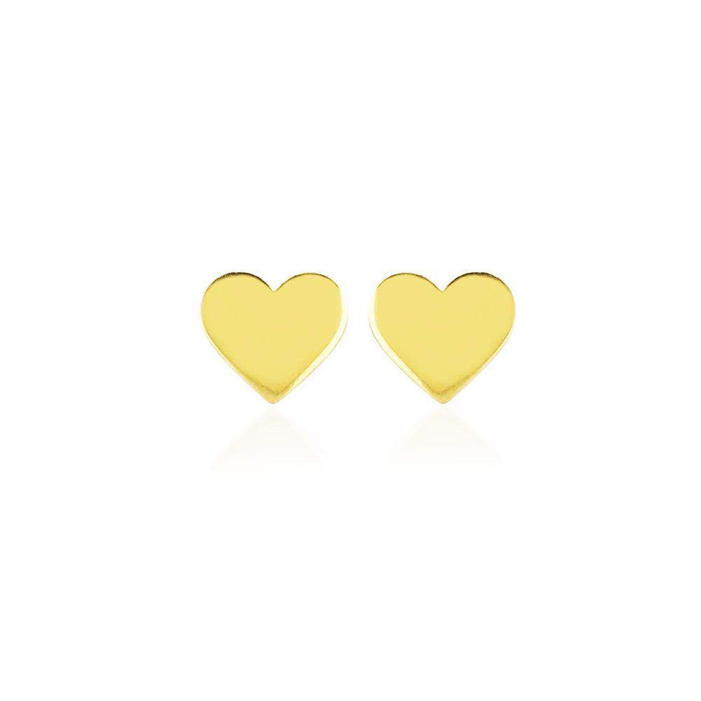 Altın Kalp Küpe Çivili 14K Gold Taşsız