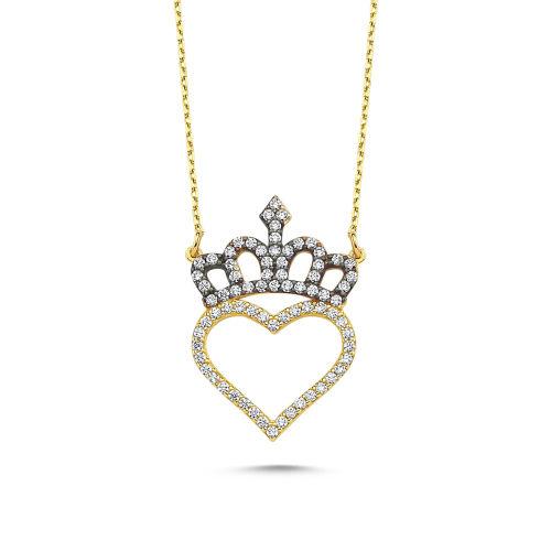 SembolGold - Altın Kalp'li Kolye Başımın Tacı KLB-0396201