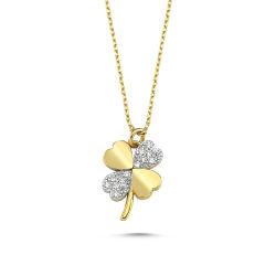 SembolGold - Altın Kalpli Yonca Kolye 1.00 cm BK54523-647