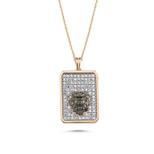 SembolGold - Altın Kolye 14K Aslanlı Özel Tasarım Rose VE56546551