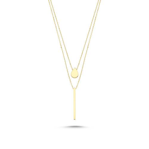 SembolGold - Altın Kolye 14K Çift Zincirli AS86546514