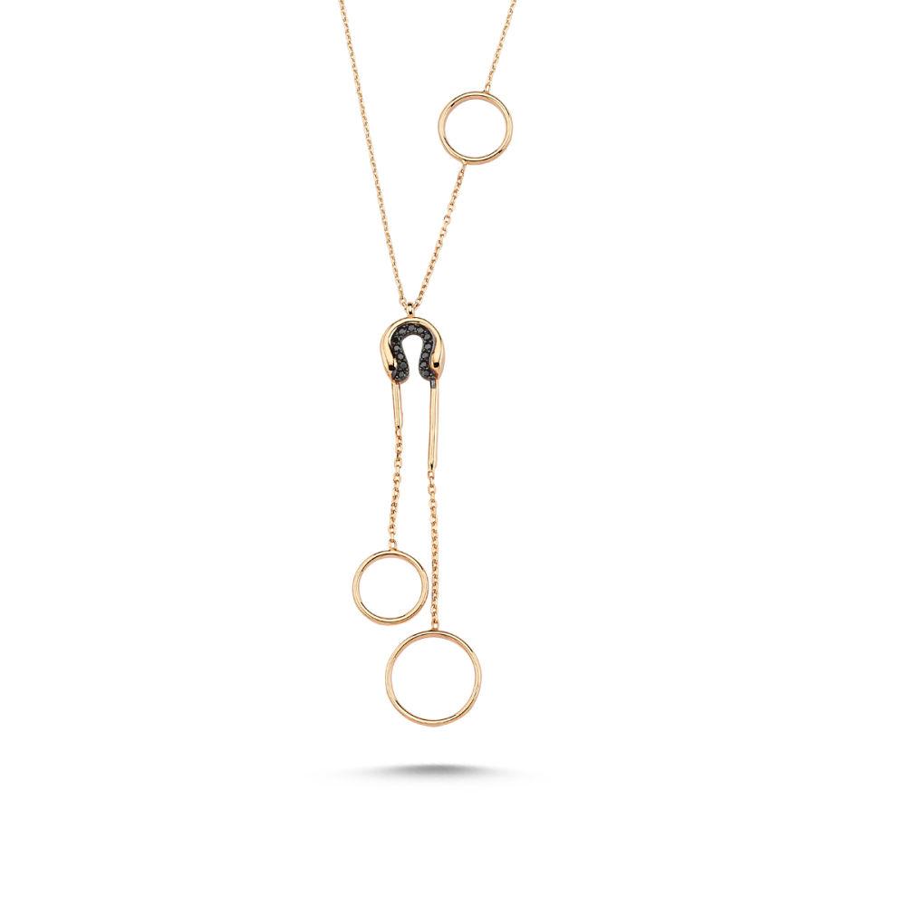 Altın Kolye 14K Rose ve Onix Taşlı Özel Tasarım VE56546546