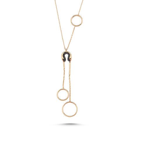 SembolGold - Altın Kolye 14K Rose ve Onix Taşlı Özel Tasarım VE56546546