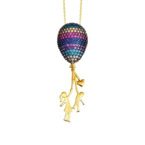 SembolGold - Altın Kolye Baloncu Kız 14K 42 Cm Zincir