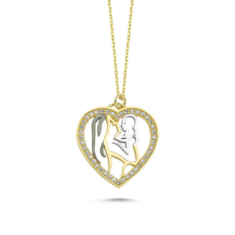 Altın Kolye Kalbimin İçi Anne-Bebek Tasarım