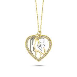 SembolGold - Altın Kolye Kalbimin İçi Anne-Bebek Tasarım KLB-0396