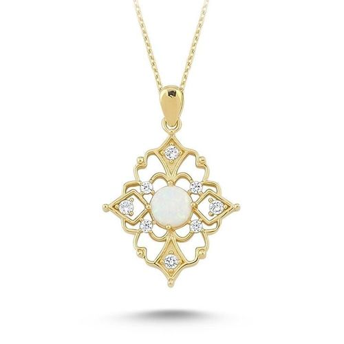 SembolGold - Altın Kolye Opal Taşlı 14K Gold