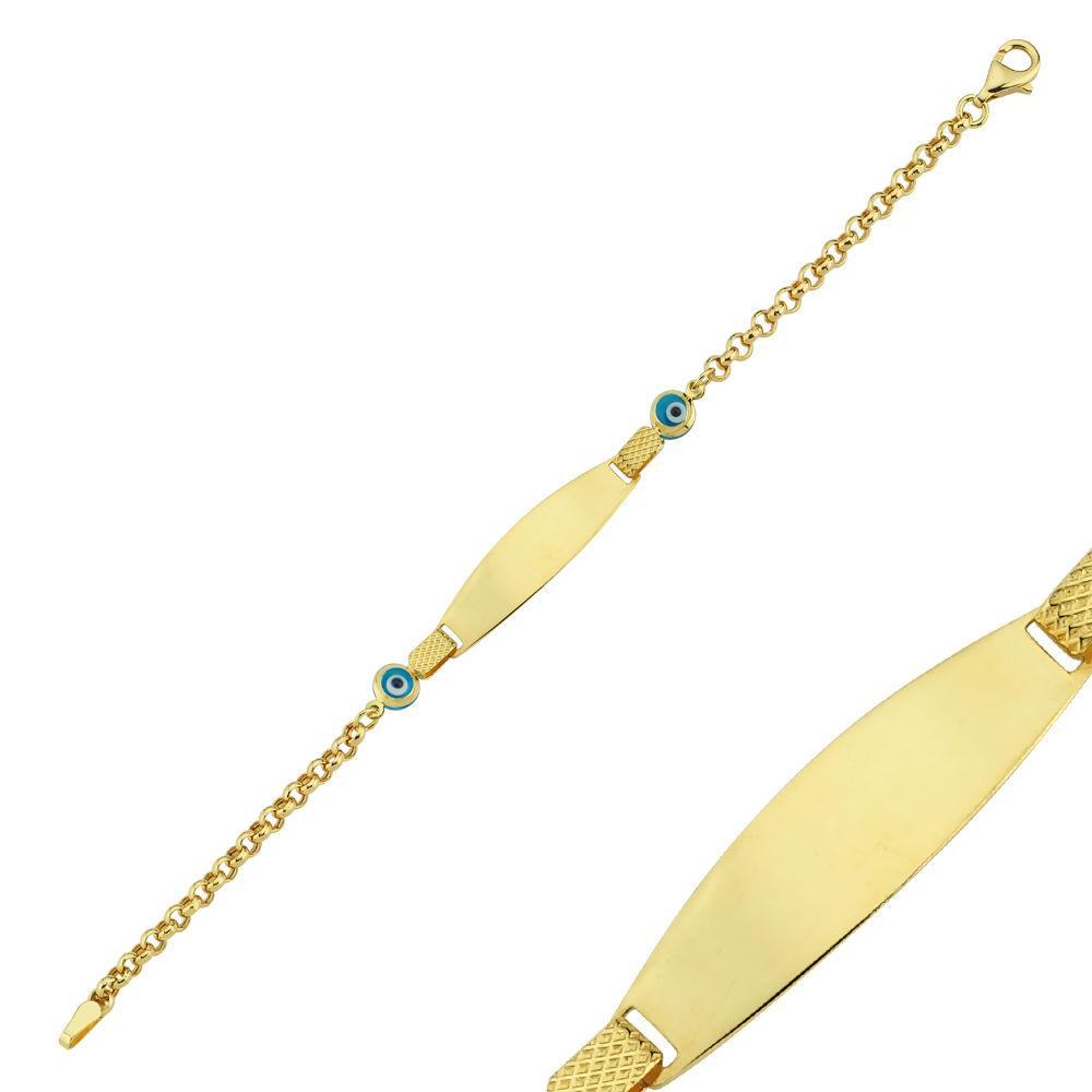 Altın Künye Çocuk Modeli Nazar Boncuklu 15 cm