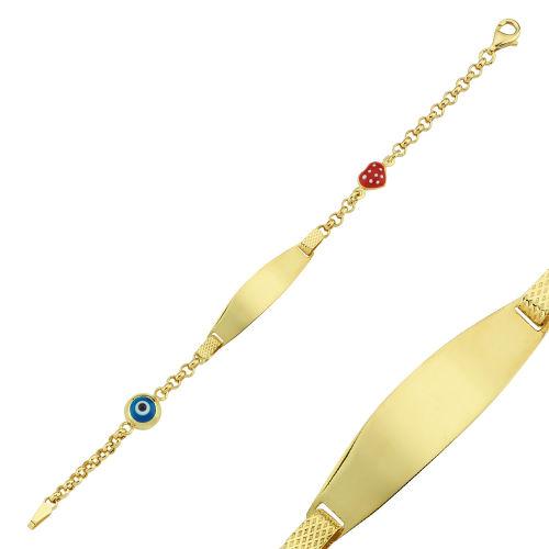 SembolGold - Altın Künye Çocuk Modeli Nazarlı ve Çilekli 14,5 cm