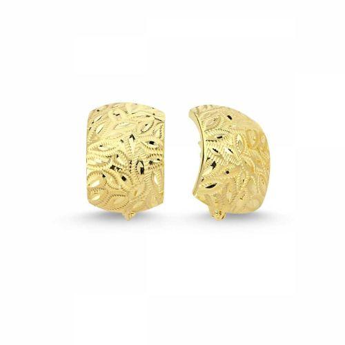 SembolGold - Altın J Küpe Taşsız Yaprak Motifli