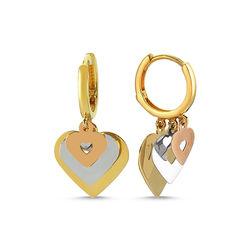 SembolGold - Altın Küpe Shakira Üçlü Kalp TriColor