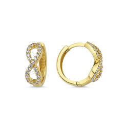 SembolGold - Altın Küpe Sonsuzluk Halka Tasarım KPBZ-9048