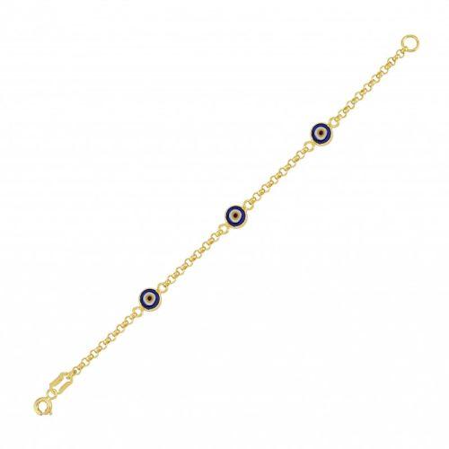 SembolGold - Altın Nazar Boncuklu Kız Çocuk Bileklik SG42-652811