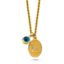 Altın Nazarlı İsimli Harf Kolye SG08-53 - Thumbnail