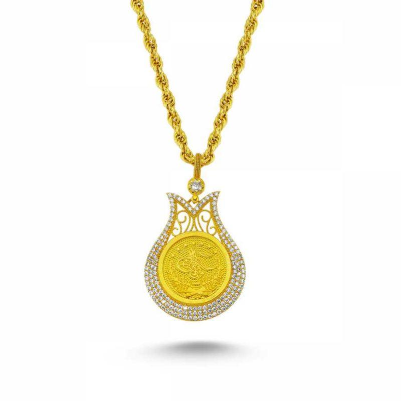 Altın Osmanlı Tugralı Taşlı Kolye Lale Model