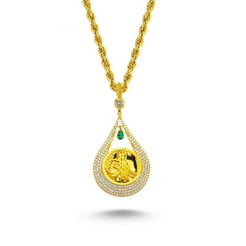 Altın Osmanlı Tugralı Taşlı Kolye