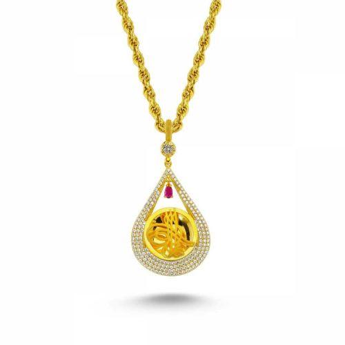 SembolGold - Altın Osmanlı Tugralı Taşlı Kolye