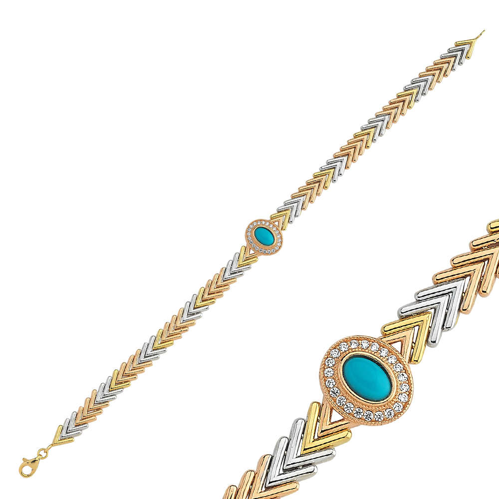 Altın Pars Bileklik Firuzeli Tricolor PR5362604