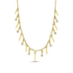 SembolGold - Altın Plaka Sarkık Kolye 60 Cm Özel Tasarım PLL-7256