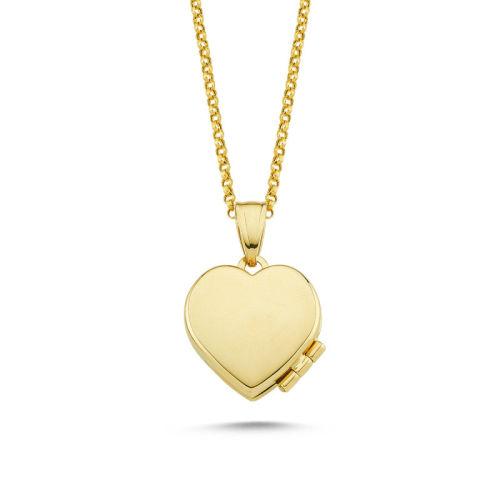 SembolGold - Altın Resimli Kolye Doç Zincirli Kalp RSM-259
