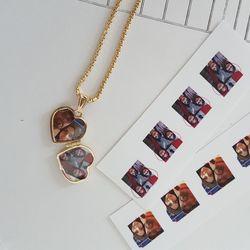 Altın Resimli Kolye Doç Zincirli Kalp - Thumbnail