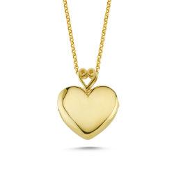 SembolGold - Altın Resimli Kolye Doç Zincirli Kalp RSM-261
