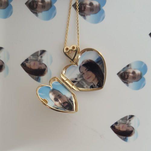 SembolGold - Altın Resimli Kolye Doç Zincirli Kalp (1)