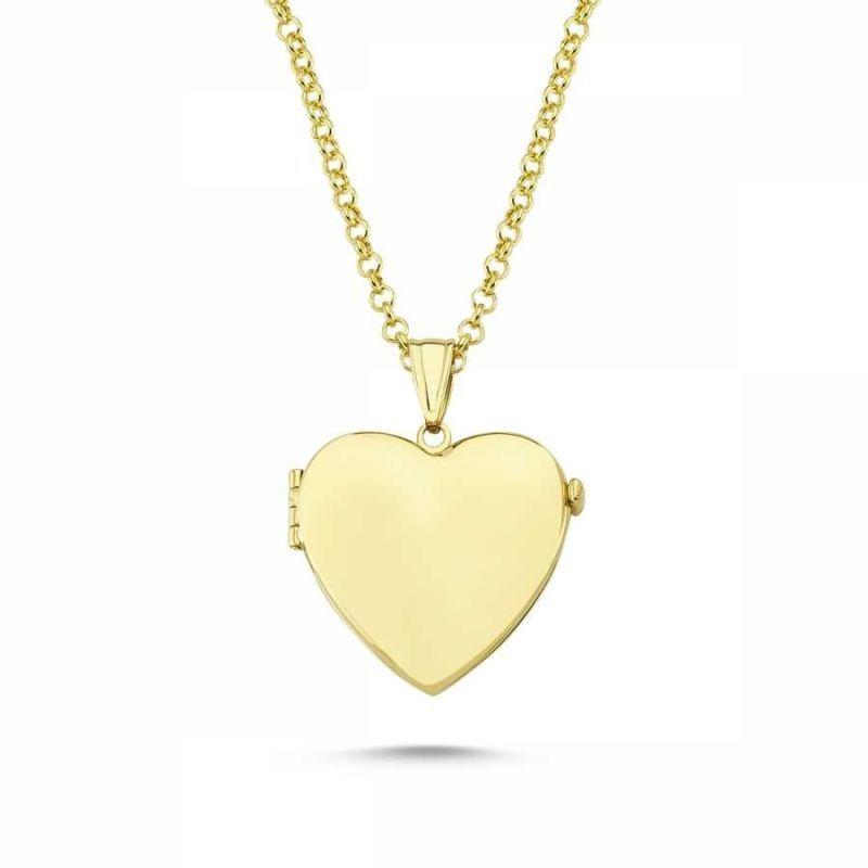 Altın Resimli Kolye Kalp Doç Zincir