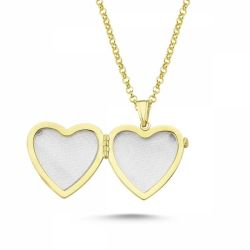 SembolGold - Altın Resimli Kolye Kalp Doç Zincir (1)