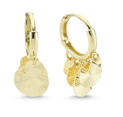 SembolGold - Altın Sallantılı Küpe Shakira Tasarım 5 Pullu