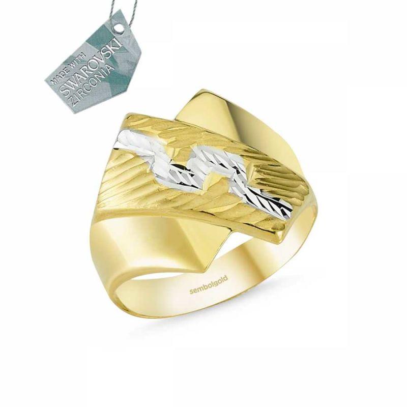 14 Ayar Altın Şık Tasarım Yüzük