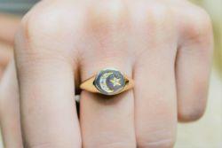 Altın Şovalye Ayyıldız Yüzük MD-415 - Thumbnail