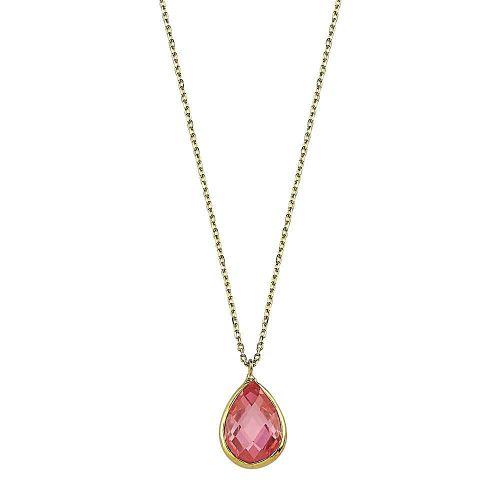 SembolGold - Altın Taşlı Kolye Pink Topaz 1.2 cm
