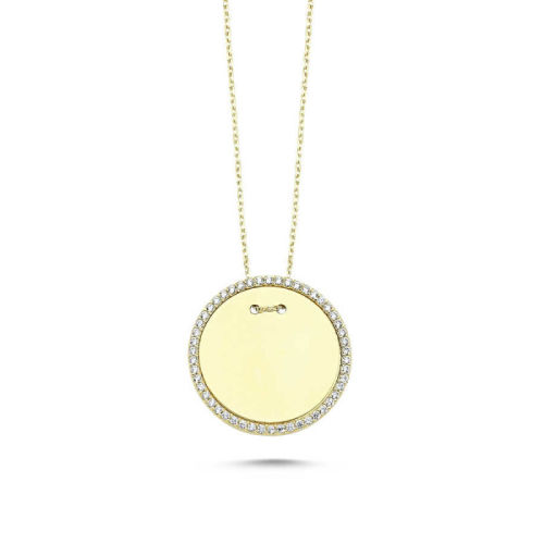 SembolGold - Altın Taşlı Plaka Kolye KLB-0333