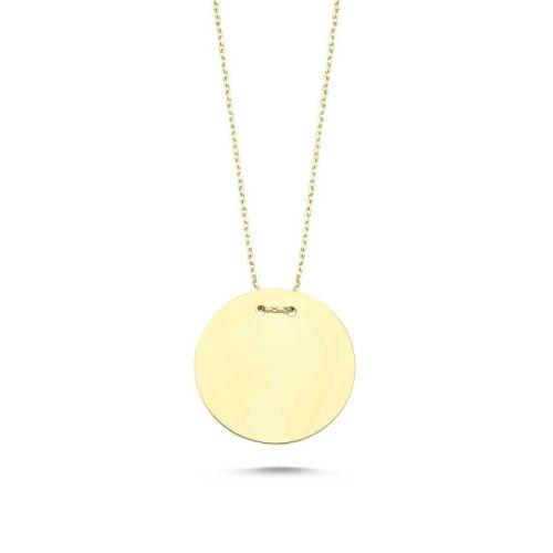 SembolGold - Altın Taşsız Plaka Kolye KLB-0332