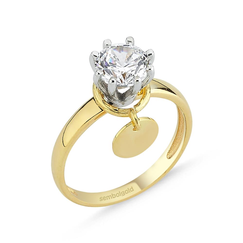 Altın Tektaş Yüzük Sarı Beyaz 1,00 karat Zirconia Sevgililer Günü Özel Tasarım