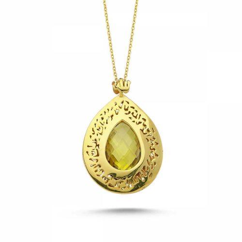 SembolGold - Altın TESİR Kolye Sarı Citrin Taşlı