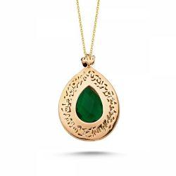 SembolGold - Altın TESİR Kolye Yeşil Turmalin Taşlı