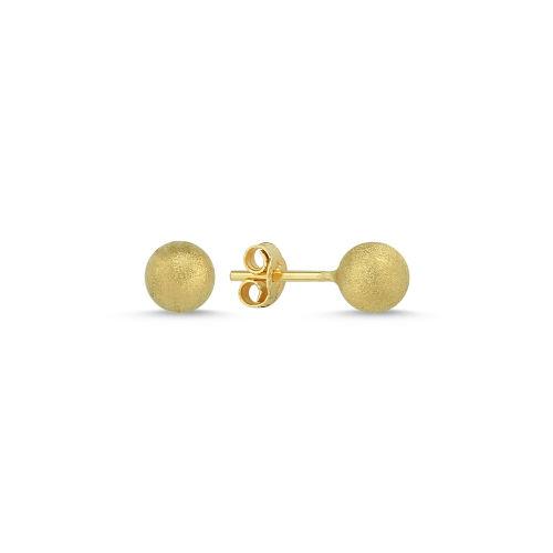 SembolGold - Altın Top Küpe Simli 14K Gold 7,0 mm 1,06 Gram