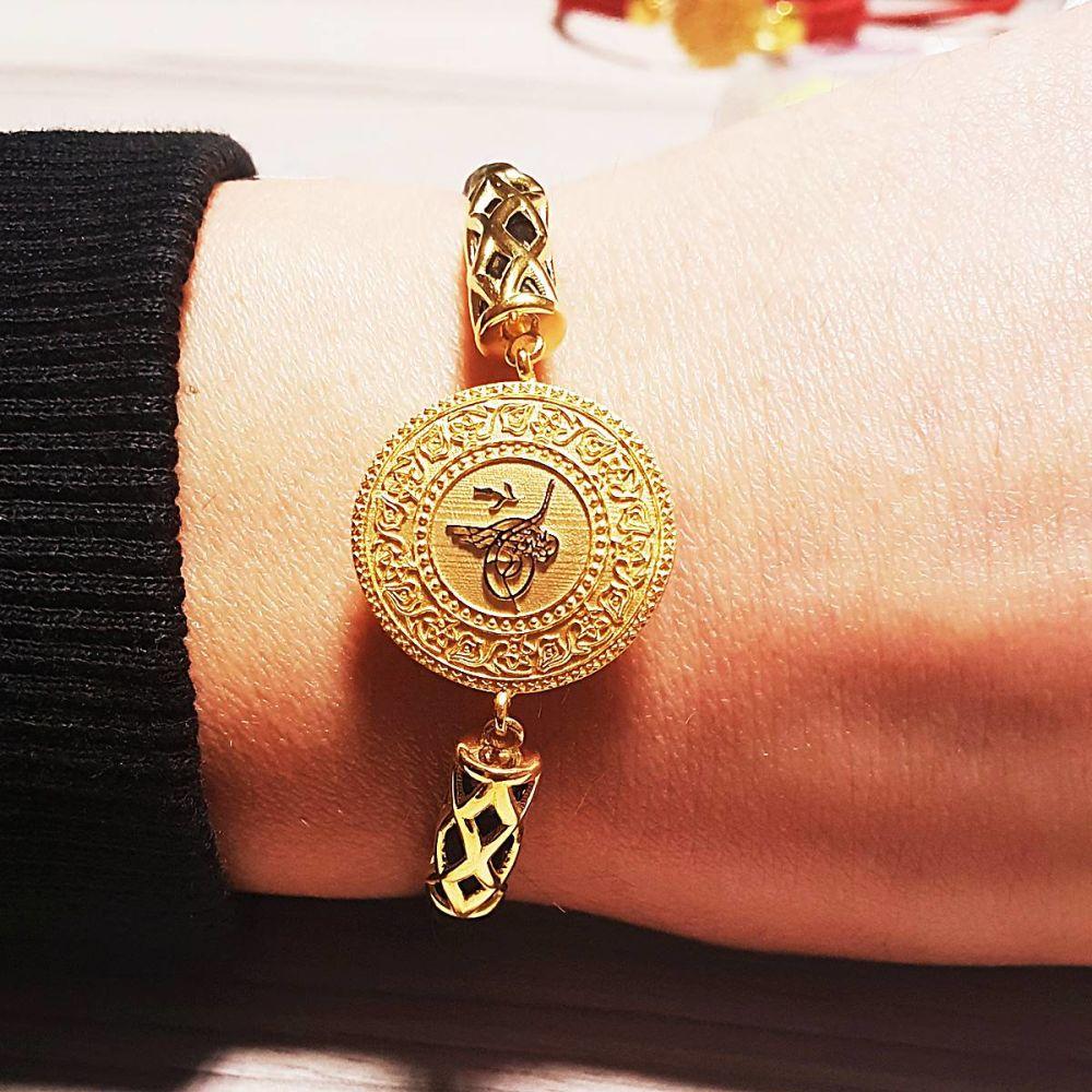 Altın Tuğralı Bileklik NazarBoncuklu Derili TRL72-960