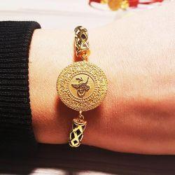 Altın Tuğralı Bileklik NazarBoncuklu Derili TRL72-960 - Thumbnail