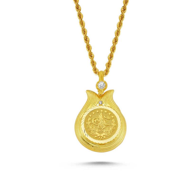 Altın Tuğralı Kolye Lale Tasarım