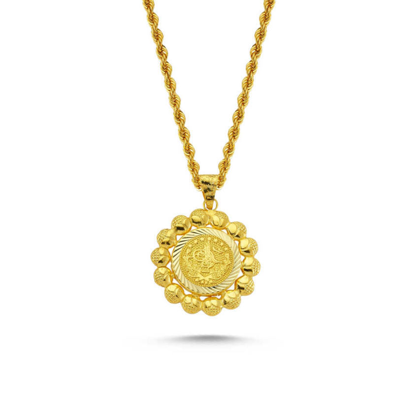 Altın Tuğralı Kolye Papatya Tasarım