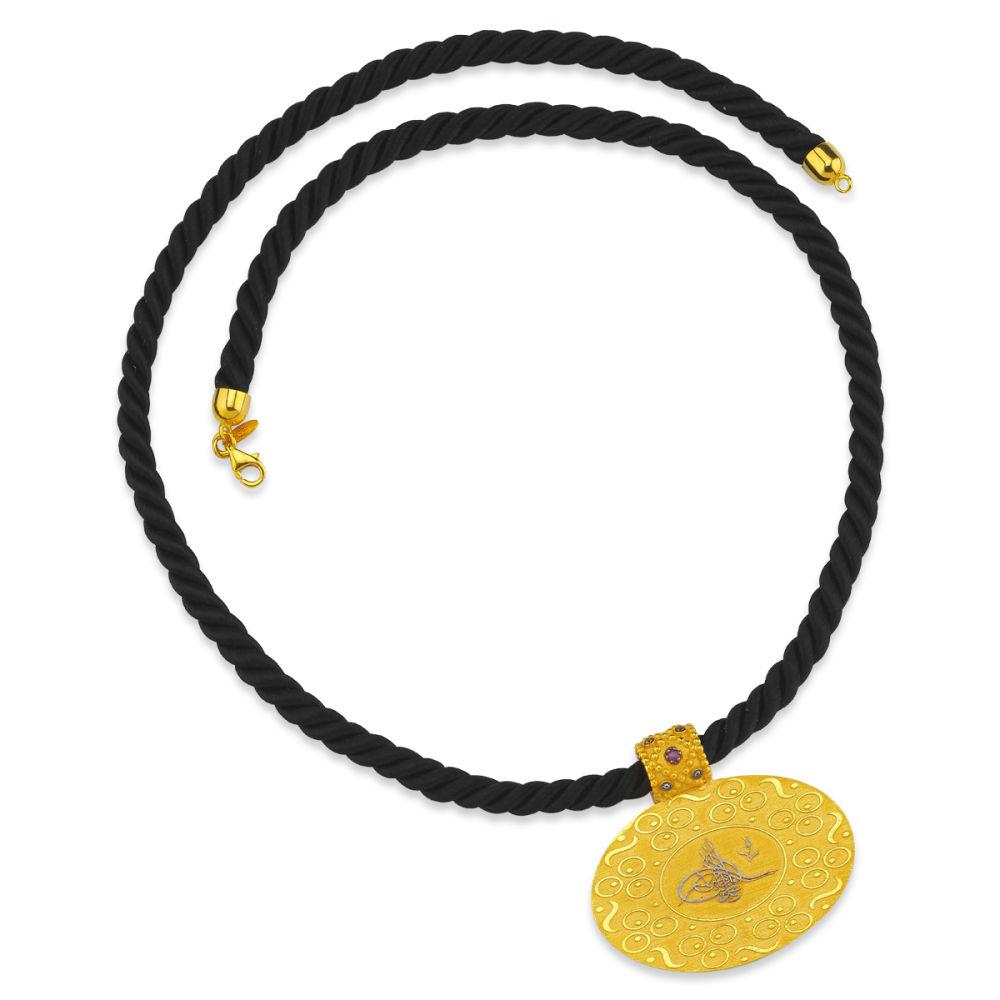 Altın Tuğralı Kolye Yeni Tasarım Burgu İpli 14K 4cm Oval